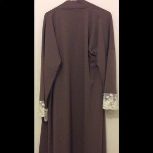 Brown abaya with lace detail on edges